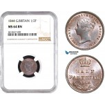 AB691, Great Britain, Victoria, 1/2 Farthing 1844, NGC MS64BN
