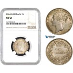 AB692, Great Britain, Victoria, Shilling 1864 (Die 51), Silver, NGC AU58