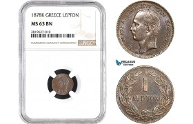AB693, Greece, George I, 1 Lepton 1878-K, Bordeaux, NGC MS63BN
