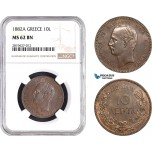 AB695, Greece, George I, 10 Lepta 1882-A, Paris, NGC MS62BN