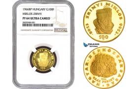"AB698, Hungary, ""Zrinyi"" 100 Forint 1966-BP, Budapest, Gold, NGC PF64UC"