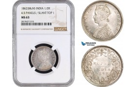AB699, India (British) Victoria, 1/2 Rupee 1862 (B&M) Silver, NGC MS63