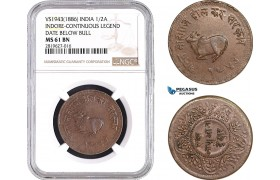 AB700, India, Indore, 1/2 Anna VS1943 (1886) Contiuous Legend, NGC MS61