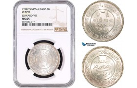 AB701, India, Kutch, Edward VIII, 5 Kori 1936 / VS1993, Silver, NGC MS65