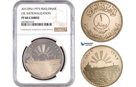 "AB703, Iraq, Dinar AH1393 (1973) Silver, ""Oil Nationalization"" NGC PF66 Cameo"