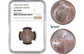 AB705, Italy, Lombardy-Venetia, Franz Joseph, 5 Centesimi 1852-V, Venice, NGC MS64BN, Pop 1/1