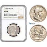 AB707, Italy, Vit. Emanuele III, 2 Lire 1914-R, Rome, Silver, NGC AU58