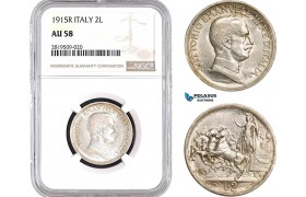 AB708, Italy, Vit. Emanuele III, 2 Lire 1915-R, Rome, Silver, NGC AU58