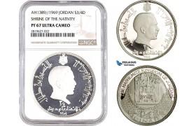 "AB709, Jordan, Hussein, 3/4 Dinar AH1389 (1969) Silver ""Shrine of the Nativity"" NGC PF67UC"
