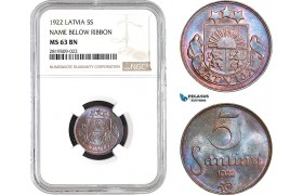AB712, Latvia, 5 Santimi 1922, NGC MS63BN