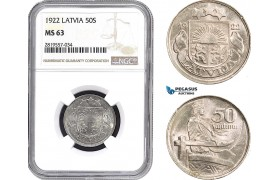 AB713-R, Latvia, 50 Santimi 1922, NGC MS63