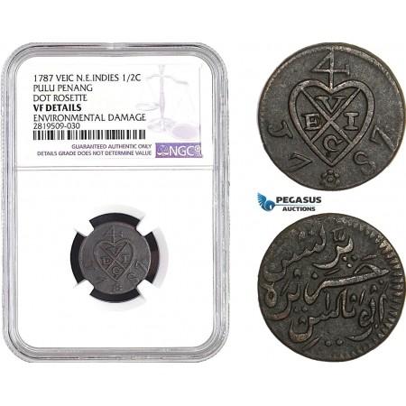 AB715, Netherlands East Indies (VEIC) Pulu Penang, 1/2 Cent 1787, Dor Rosette, NGC VF Details