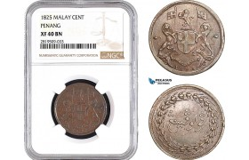 AB718, Malay Peninsula, Penang, 1 Cent 1825, NGC XF40BN, Pop 1/0