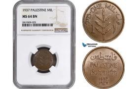 AB719, Palestine, 1 Mil 1937, London, NGC MS64BN