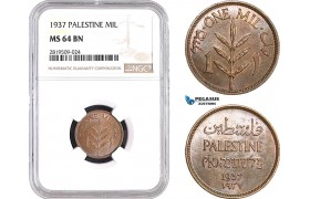 AB720, Palestine, 1 Mil 1937, London, NGC MS64BN