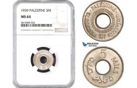 AB721, Palestine, 5 Mils 1939, London, NGC MS64