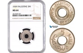 AB722, Palestine, 5 Mils 1939, London, NGC MS64