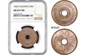 AB723, Palestine, 20 Mils 1942, London, NGC MS63+ BN