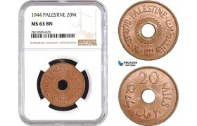 AB724, Palestine, 20 Mils 1944, London, NGC MS63BN