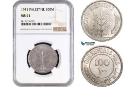 AB725, Palestine, 100 Mils 1931, London, Silver, NGC MS61, Rare!
