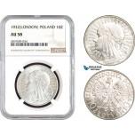AB726, Poland, 10 Zlotych 1932, London, Silver, NGC AU58