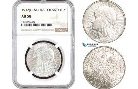 AB726, Poland, 10 Zlotych 1932, London, Silver, NGC AU58