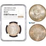 AB731, Portugal, Carlos I, 500 Reis 1898, Lisbon, Silver,
