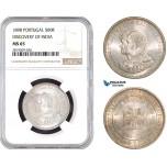 AB732, Portugal, Carlos I, 500 Reis 1898, Lisbon, Silver,