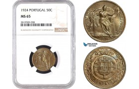 AB734, Portugal, 50 Centavos 1924, NGC MS65, Pop 1/1, Key Date! Rare!