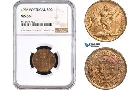 AB735, Portugal, 50 Centavos 1926, NGC MS66, Pop 3/0