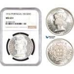AB736, Portugal, Escudo 1916, Silver, NGC MS63+