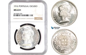 AB736, Portugal, Escudo 1916, Silver, NGC MS63+