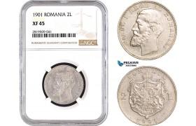 AB738, Romania, Carol I, 2 Lei 1901, Hamburg, Silver, NGC XF45, Very Rare!
