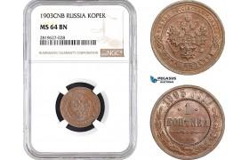 AB740, Russia, Nicholas II, 1 Kopek 1903, St. Petersburg, NGC MS64BN