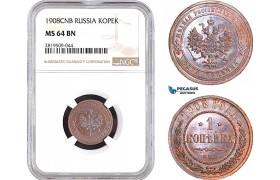 AB741, Russia, Nicholas II, 1 Kopek 1908, St. Petersburg, NGC MS64BN