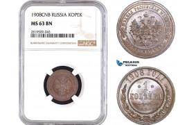 AB742, Russia, Nicholas II, 1 Kopek 1908, St. Petersburg, NGC MS63BN