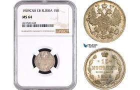 AB743, Russia, Nicholas II, 15 Kopeks 1909, St. Petersburg, Silver, NGC MS64