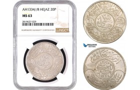 AB745, Saudi Arabia, Hejaz, Al-Husain ibn Ali, 20 Piastres AH1334/8, Mecca, Silver, NGC MS63