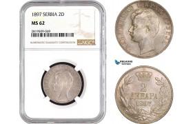 AB749, Serbia, Alexander I, 2 Dinara 1897, Vienna, Silver, NGC MS62