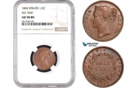 """AB751, Straits Settlements, Victoria, 1/2 Cent 1845 """"No WW"""" NGC AU58BN"""