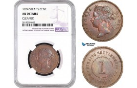 AB753, Straits Settlements, Victoria, 1 Cent 1874, NGC AU Details