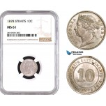 AB756, Straits Settlements, Victoria, 10 Cents 1878, Silver, NGC MS61