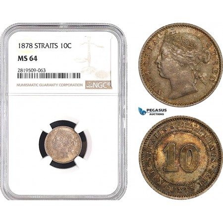 AB757, Straits Settlements, Victoria, 10 Cents 1878, Silver, NGC MS64, Pop 2/2