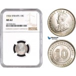 AB758, Straits Settlements, George V, 10 Cents 1926, Silver, NGC MS62