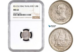 AB762, Thailand, Rama V, 1/8 Baht RS123 (1904) Silver, NGC MS62