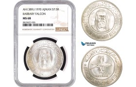 "AB765, United Arab Emirates, Ajman, 7.5 Rials AH1389 / 1970, Silver, NGC MS68 ""Barbary Falcon"""