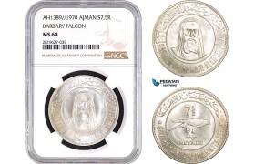 "AB765, United Arab Emirates, Ajman, 7.5 Rials AH1389 / 1970, Silver, NGC MS68 ""Barbary Falcon"""