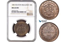 AB767, Bulgaria, Ferdinand I, 10 Stotinki 1881-Heaton, NGC MS64BN