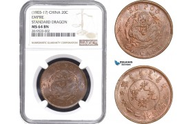 AB769, China, Hupoo, 20 Cash ND (1903-17) Empire Standard Dragon, NGC MS64BN