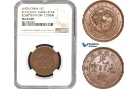 AB770, China, Kiangnan, 10 Cash 1902, Y-135, Reeded Edge, NGC MS65BN